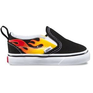 Kids Classic Slip on Vans with flame design